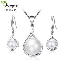 Hongye Popular Elegante Plata Esterlina 925 Conjunto de Joyas de Perlas de Agua Dulce Blancas para Las Mujeres Pendientes Del Collar Colgante Barato desde fabricantes