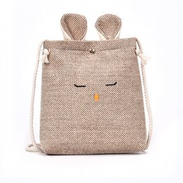 Wholesale Small Cotton Drawstring Pouches - Harajuku New Cotton Linen Gift Bag Travel Drawstring Storage Bags Sundries Small Beam Rope Pouches Handmade Candy Bag cats
