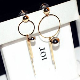 Wholesale Big Pendent - New gold silver color combine woman lady big circle hoop long tassel charm pendent dangle chandelier asymmetrical designer fashion earring