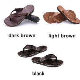 cbac7dd5b4dc1d 1 pair Men PU Leather Wearing Flip Flops Outdoor Beach Bathing Sandals Anti-slip  Flat Slipper Shoes