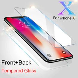 Hd iphone en Ligne-9H HD Premium Avant + Arrière = 2PCs Verre Trempé Pour iPhone XS Max XR X 8 Plus 6 6s 7 7 Plus 5 5S Film Protecteur D'écran Pour iPhone X