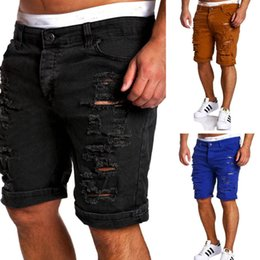 0212bb356b7 Destroy Men Jeans Short Summer Fashion azul Negro Blanco Frayed Hole Knee  LengthMan Shorts de mezclilla Zipper Fly Homme Casual Shorts pantalones de  ...