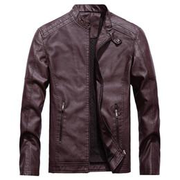 chaqueta térmica de moda para hombre Rebajas Moda otoño invierno Casual Pocket Button Thermal Leather Top Coat chaqueta de piel hombres bomber jacket # g8