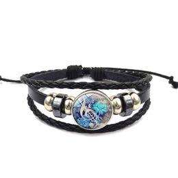 Wholesale woven pendant - Musical note flower bracelet Time Gem Cabochon pendant multilayer woven bead bracelet European and American retro jewelry