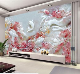 Wholesale Fish Paper Roll - Wholesale-Custom 3D wallpaper, embossed lotus and fish murals for the living room bedroom TV background wall waterproof wallpaper