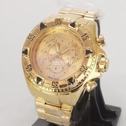 Wholesale Brazilian Gold - INVICTA 2017 Brazilian Hot Selling Large Dial Luxury Men's Watches Gold steel band Sports Watch Quartz Watches Relojes de Hombre