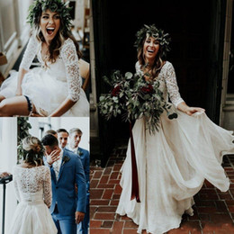 Wholesale sexy v neck wedding dresses - Beautiful Long Sleeve A-Line Two Pieces Beach Country Wedding Dresses 2018 Chiffon Ruffles Lace Top Boho Custom Made Bohemian Bridal Gown