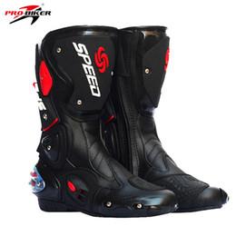 2019 велоспорт Pro Biker Motorcycle Boots Pro-Biker SPEED Racing Boots Motocross Waterproof Riding Racing Cycling Shoes Men скидка велоспорт