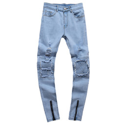 farbige jeans für männer Rabatt Mode Mens Straight Slim Fit Loch Biker Jeans Light-Colored Washed Bleistift Hose Zerrissene Denim Jeans Hip Hop Streetwear Blau zerstört