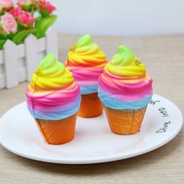 Wholesale Rainbow Rolls - Squishy Rainbow Ice Cream Squeeze Jumbo Yummy Squishy Slow Rising Jumbo Cell Phone Key Chain Strap Pendant Roll Squishes PU Cute Toys