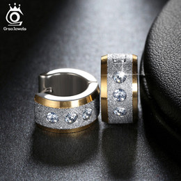 Wholesale Stainless Steel Led - ORSA JEWELS Lead & Nickel Free Women Hoop Earrings 2017 Newest Design Stainless Steel Ear Jewelry with Shiny Crystal GTE04