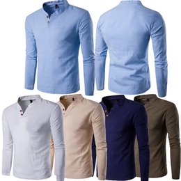 Wholesale Mens Blouse Shirts - new Fashion Mens Slim Fit Long Sleeve Shirt Solid Linen Tee Shirt Casual Top Blouse Stylish Mens Slim Shirts