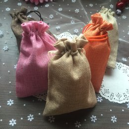 Wholesale Small Pouch Cloth - 4pcs lot 9.5*14cm High-grade Environmental Linen Jewelry Gift Cloth Pouch Plaything Small Goods Drawstring Storage Bag BZ173