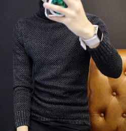 Wholesale Trendy Winter Sweaters - Winter Men's Korean Version Of The High-Neck Slim Sweater Add Velvet Thick Sweater Trendy Bottoming Knit Shirt