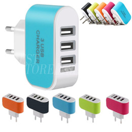 Wholesale Mobile Charger For Phone - US EU Plug 3 USB Wall Chargers 5V 3.1A LED Adapter with triple USB Ports Travel Convenient Power Charger For Mobile Phone