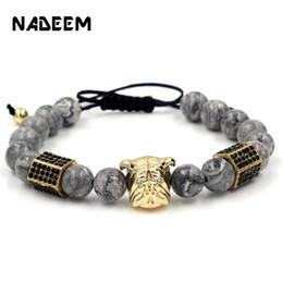 Perline di marmo online-Pavimentare nero CZ ottone esagono bulldog testa fascino intrecciare marmo perline di pietra bracciali braccialetti pulseira masculina per uomo donna
