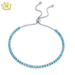 Wholesale sterling silver 925 turquoise bracelets - Hutang Wholesale Solid 925 Sterling Silver Nano Turquoise Bracelets for Women's Girl's Fine Jewelry Adjustable Bracelet 2018 New