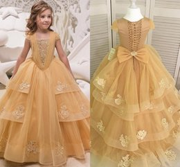 Wholesale red ruffled dress - Gorgeous Gold Ball Gown Girls Pageant Dresses With Cap Sleeves Appliques Organza Floor Length Birthday Party Dresses Sweep Train