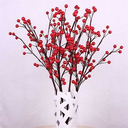 Wholesale Home Decorate Flowers - Fashion Wedding Beautiful 100pcs Bouquet Artificial Red Berry Bouquet Flowers Home Decor Garden Decorating