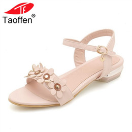 Wholesale Size 32 Sandals - TAOFFEN Size 32-44 Women Sandals Flat Heel Buckle Flower Ladies Summer Shoes Korean Women Sandals For Vacation Daily Footwear