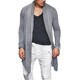 asymmetrische strickjacke Rabatt Mann Herbst Casual Strickjacke Asymmetrische Einfarbig Wrap Coat Outwear Schlank Männlichen Mantel Offene stich H9