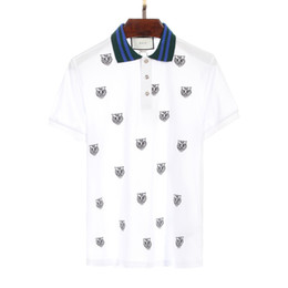 Wholesale mens wholesale polo - mens polo shirt streetwear tiger pattern embroidery for free shipping short sleeve o-neck loose cotton black and white color
