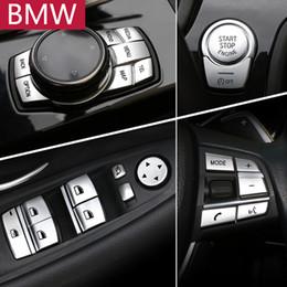papel de embrulho de fibra de carbono Desconto Acessórios interiores do carro ABS Chrome Botão Tampa Adesivos Para BMW 1 2 3 4 5 7 Série F10 F07 F07 F12 F12 F01 F02 F20 F30 F32 Estilo Do Carro
