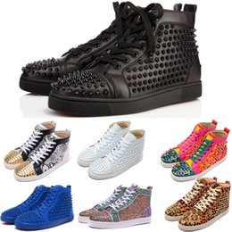Wholesale mens studded shoes - Original Box Luxury Designer Brand Mens & Womens Red Bottoms Shoes Studded Spikes Flats Shoes Wedding Party Lovers Genuine Leather Sneakers