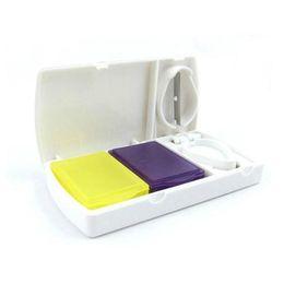 Wholesale Medicine Boxes Plastics - Pill Cutter Splitter Half Storage Compartment Box Medicine Tablet Holder Home Storage Box Free Shipping ZA5998