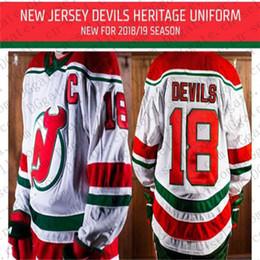 43cb9c2bd 2018 2019 New Jersey Devils 18 Taylor Hall Kyle Palmieri Nico Hischier  Travis Zajac New Retro Heritage Red Green Home Uniform Hockey Jersey