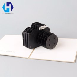 Wholesale Camera Gift Card - 3D pop up camera dies greeting card laser cutting envelope postcard hollow carved handmade kirigami Children Creative gifts