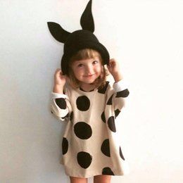 Wholesale 2t Girls Fall Clothes - Girls Dot Printed INS Dresses Beige Cotton Knitted Long Sleeves Kids Fall Dresses Casual Children Clothes New Arrival