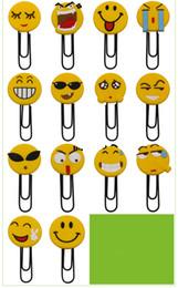 Fumetti di smiley online-Top Quality Smiley grande graffetta Segnalibro Cartoon PVC Colla morbida Bookmark Student Forniture per ufficio Colore casuale Invia DHL gratuito H588Q