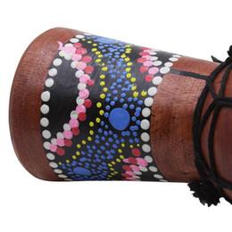 Tambours en bois en Ligne-4 pouces tambour africain percussion enfant jouet classique peint tambour en bois de style africain pour enfants jouets-musique