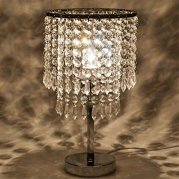Wholesale Wholesale Chrome Plating - Chrome Round Crystal Chandelier Bedroom Nightstand Table Lamp LED Night Light Bedside Desk Lamps for Wedding Living Room Dining Room