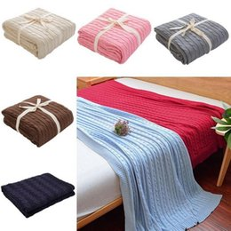 Wholesale Baby Throw Blankets - Knitted Blanket 110*180cm Office Nap Throw Sleeping Quilt Soft Bedding Blankets Newborn Baby Swaddle Wrap 16 Colors OOA4571