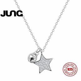 60bd75092ec4 JUNG 2018 Nueva Moda Crystal Zircon Bell Cinco Estrellas Venta Caliente  Delicadeza Simple s925 Sterling Silver Cadenas Collares Mujeres N8350