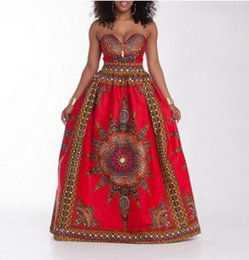 Wholesale traditional ball gowns - Traditional African Print Dashiki High Waist Ankara Floral Long Skirt A-Line Hippie Indian Style Pattern Asymmetrical Floor Length Skirts