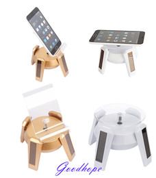 Wholesale Lighted Rotating Display Stand - New Solar Powered Jewelry Phone Watch Rotating Display Stand Holder 360 Turn Table with LED Light Cruve Presentation Showcase