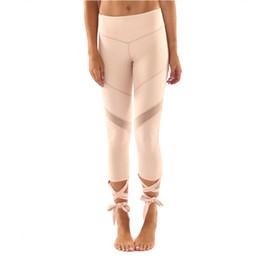 Перевязанные черные гетры онлайн-2017 Mesh Patchwork Black Pink Bandage Cross Leggings Women High Waist Sporting Pants Fitness Gymming Lady Capris Legging
