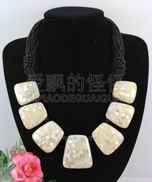 Collar de abulón negro online-N090527 19 '' collar de concha de ónix negro hecho a mano Paua Abalone Black