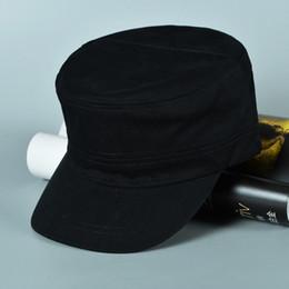 Boş Askeri Kap Düz Ayarlanabilir Pamuk Askeri Şapkalar Yetişkinler Için Erkek Kadın Kafatası Güneşlik Siyah Donanma Beigh Ordu Yeşili 5 renkler cheap navy army cap nereden lacivert ordu kapağı tedarikçiler