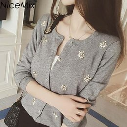 660e7f691a9 NiceMix Cardigan Women Knitted Sweater Hand Beading Sequined Patch Sweaters  Sweet Women Cardigans 2018 Spring Autumn Pull Femme