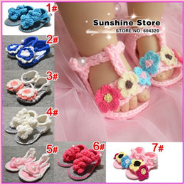 Wholesale Sunshine Style - Sunshine store #2B2029 5 pair lot(7 styles) infant BABY shoes crochet flower pearl bowknot!Soft Sole baby prewalker shoes CPAM