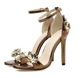 fc83ae6d0269d luxury designer women shoes copper gold flower ankle strappy high heels  size 35 to 40