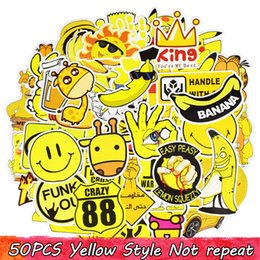 Wholesale bicycles for children - 50PCS Yellow Graffiti Funny Home Decor Child Creative Sticker Toy Waterproof Car Applique Gift Notebook Bicycle Luggage Snowboard Stickers