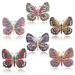fashion crystal butterfly Coupons - Butterfly Brooch designer Brooches Multi Color Rhinestone Crystal Pins Vintage Fashion Women Wedding Bridal Garments Clothes Pins