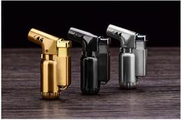 Wholesale wholesale butane torch lighters - METAL Windproof Butane Gas lighter metal Cigar Cigarette Lighter mini Refillable jet flame torch Dabs Jet Butane Torch golden grey silver