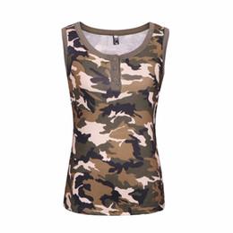 2019 camicie senza camicia Nuove donne di estate Army Green Camo T-Shirt femminile senza maniche Gilet sexy Camouflage maglietta Casual Tee Top Plus Size camicie senza camicia economici