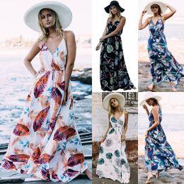 Wholesale Womens Maxi - 2018 Summer Floral Print Maxi Dresses Womens Beach Club Casual Loose Chiffon Sleeveless V Neck Long Plus Size Fashion Boho Clothes FS3436